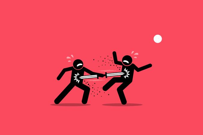 Double edged sword concept Illustration