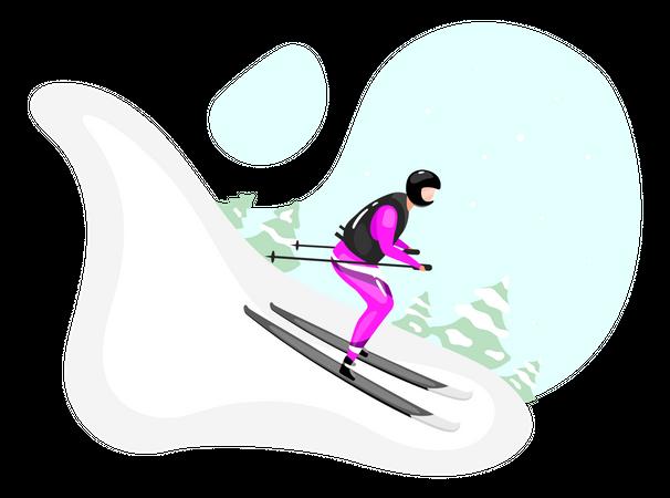 Downhill skiing Illustration