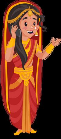 Draupadi talking on phone Illustration