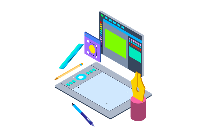 Drawing tablet with pen for illustrators and designing Illustration