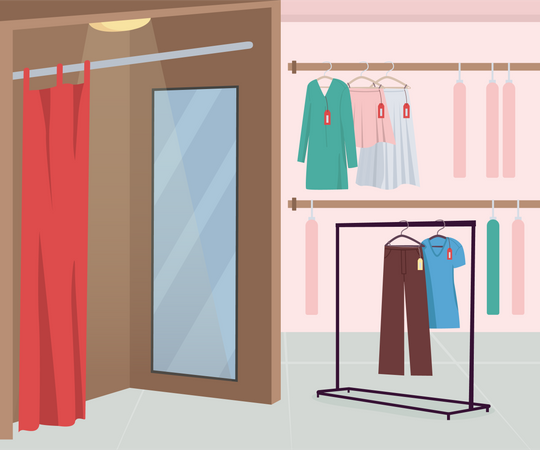 Dressing room in clothing store Illustration