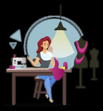 Dressmaker sewing designer clothes Illustration