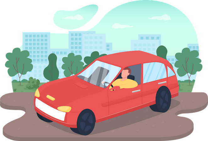 Driving car Illustration