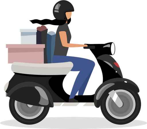 Driving scooter with goods bunch Illustration