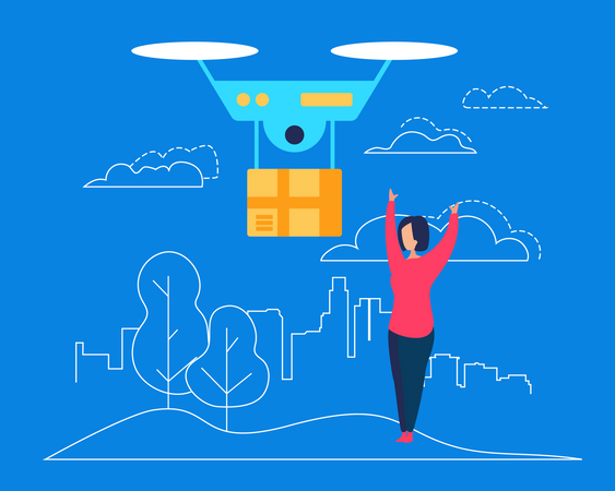 Drone Deliver Box Parcel to Young Woman Consumer Illustration