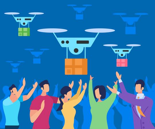 Drone Delivering Parcel to People Illustration