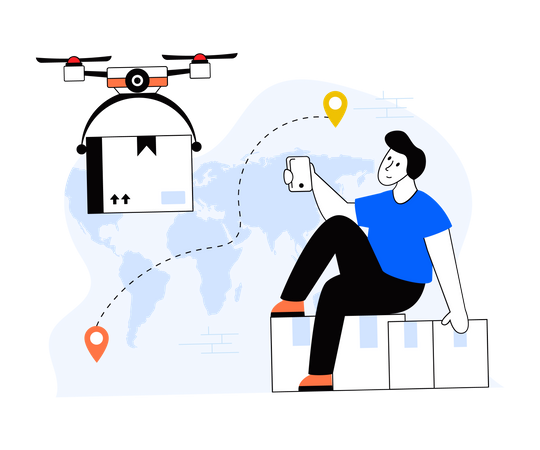 Drone Delivery Illustration