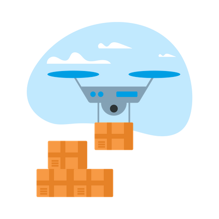 Drone Delivery Box in Blue Sky with Clouds Illustration
