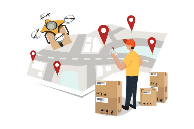 Drone Delivery Tracking Illustration