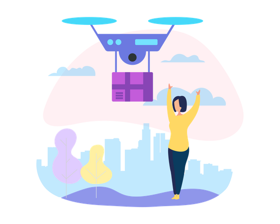 Drone Mail Service Illustration