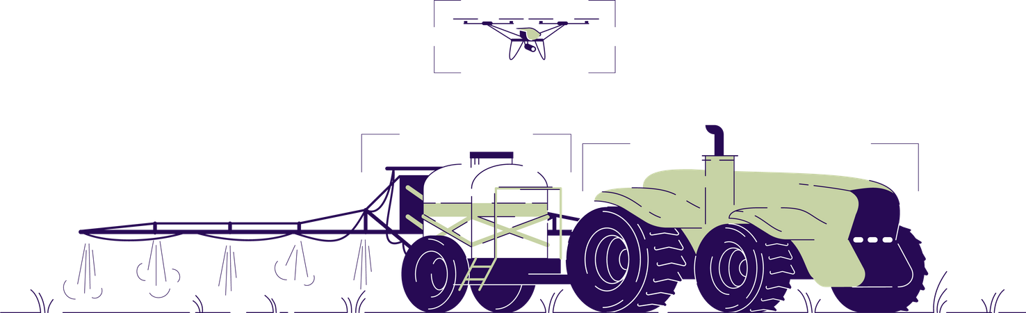 Drone watering tractor Illustration