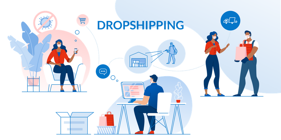 Dropshipping and Contactless Safety Delivery Illustration