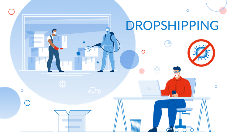 Dropshipping in Global Covid19 Pandemic Condition Illustration