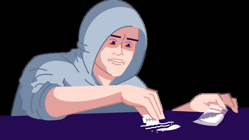 Drugs addicted man Illustration