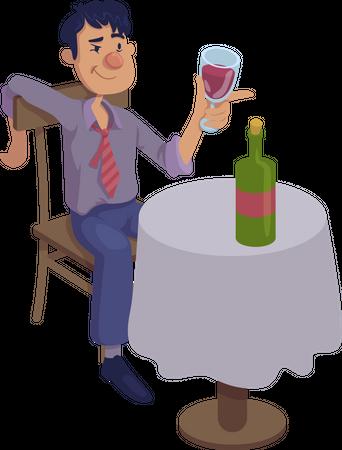 Drunk man sitting at table Illustration