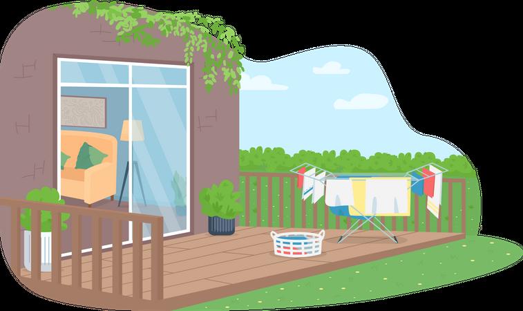 Drying laundry in back yard Illustration