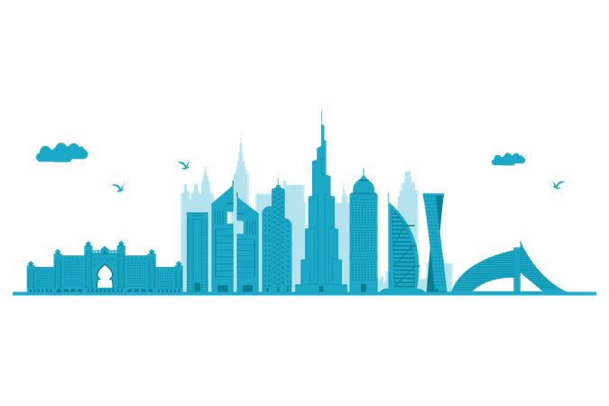 Dubai Skyline in blue silhouette Illustration