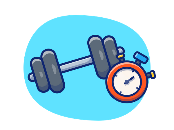Dumbbell with stopwatch Illustration