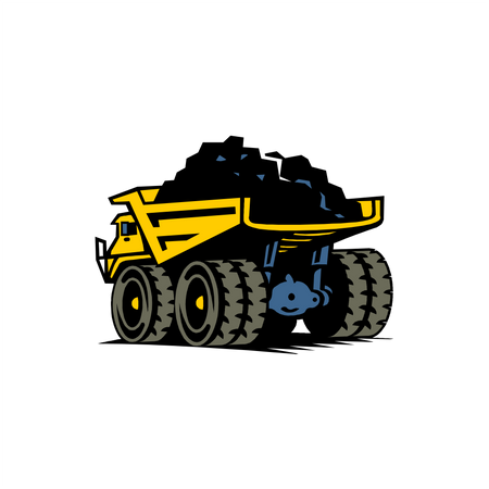 Dump truck with coal Illustration