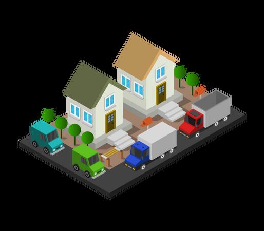 Duplex houses Illustration