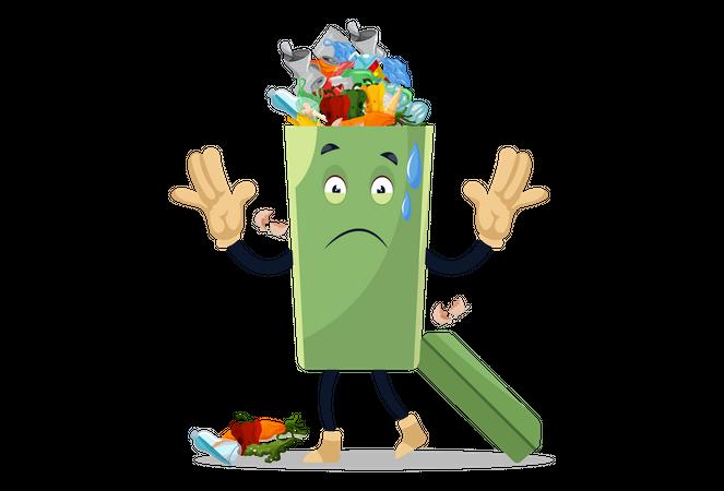 Dustbin is full of garbage Illustration