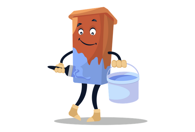 Dustbin standing with color brush and bucket and painting itself Illustration