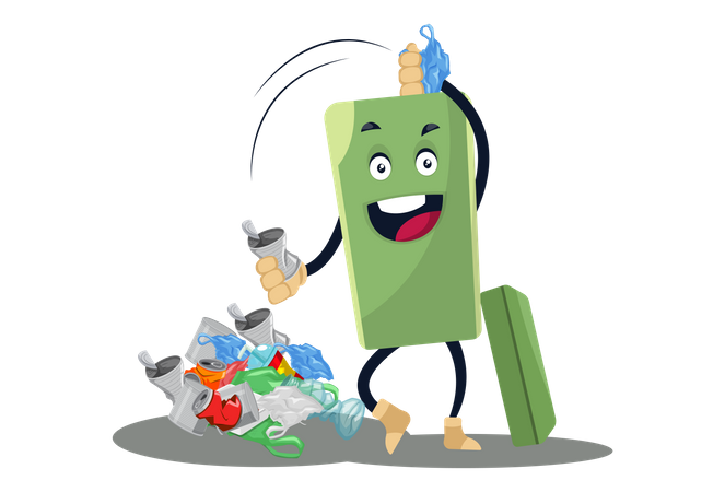 Dustbin with full of garbage Illustration