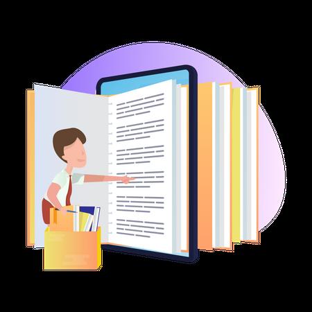 E-book reading Illustration