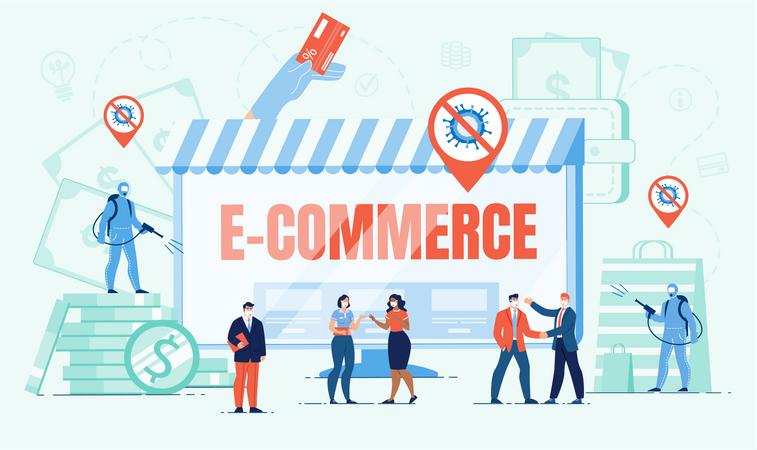 E-Commerce Business Development in Covid Pandemic Illustration