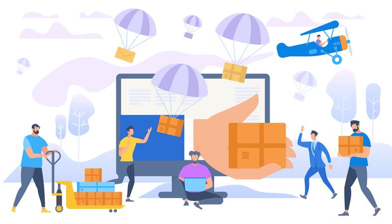 E-commerce Sales, Parachutes Shipping Parcels Illustration