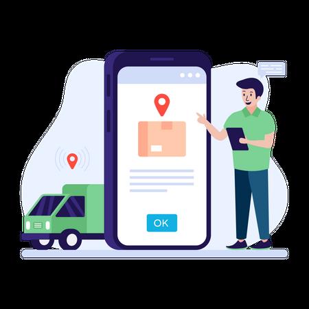 E-commerce shipping application Illustration