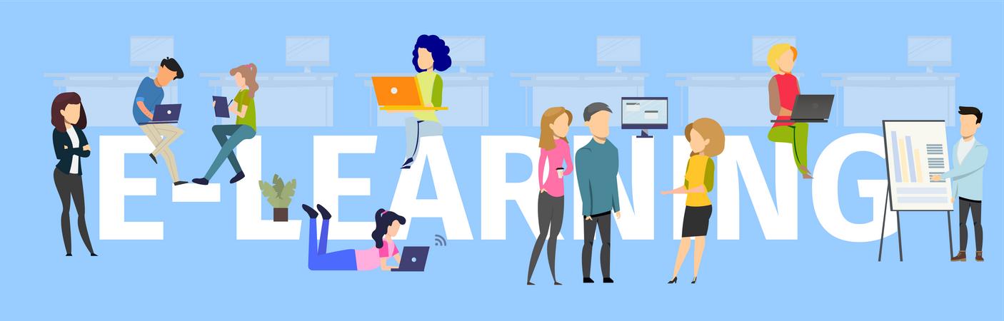 E-learning Typography Banner Illustration