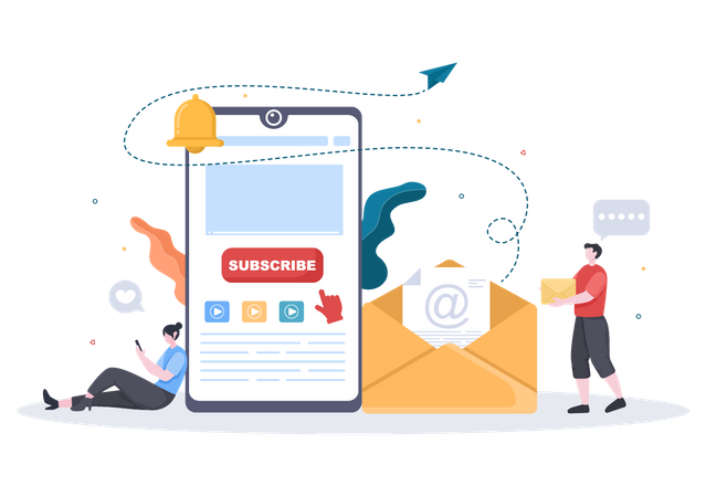 E-mail subscription from mobile Illustration