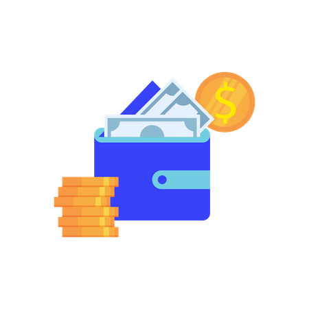 E-wallet concept with wallet and cash Illustration