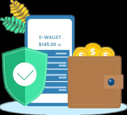 E-Wallet secured app Illustration
