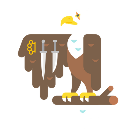 Eagle with knife and punch Illustration