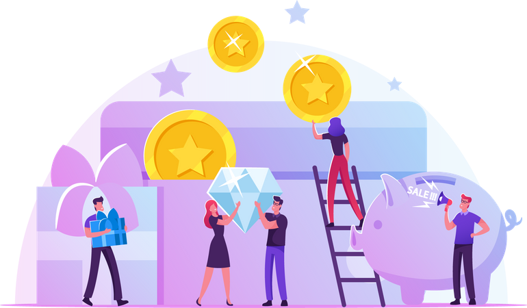 Earn Reward and Loyalty Program Illustration