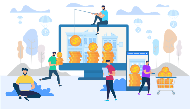 Earning and Spending Money in Internet Concept Illustration