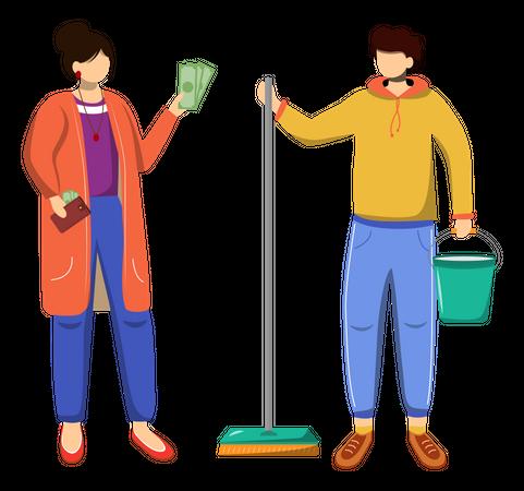 Earning money for travelling Illustration