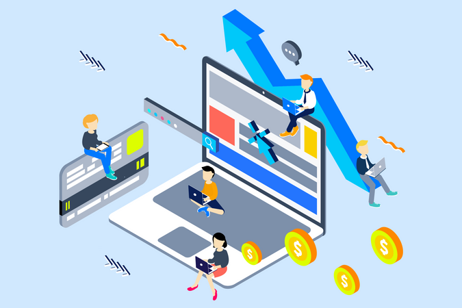 Earning money via pay per click concept Illustration