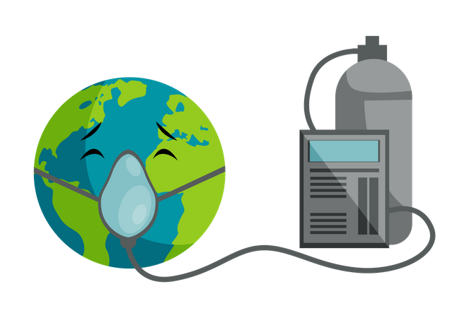 Earth Breathe Oxygen From cylinder Illustration