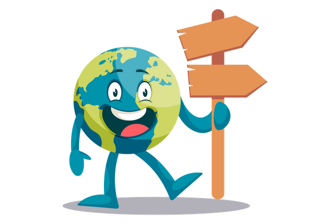 Earth holding wooden board in hand Illustration