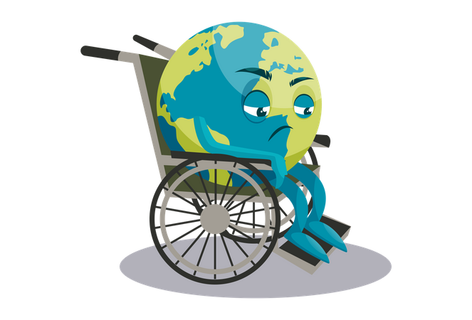Earth is sitting in a wheelchair Illustration