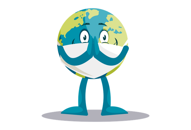 Earth is with greet and wearing a mask Illustration