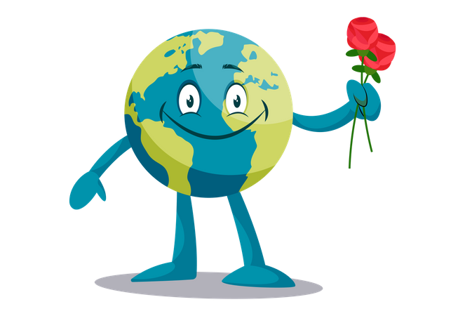 Earth with red rose Illustration