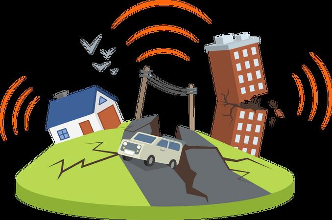 Earthquake in city Illustration