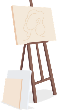 Easel with canvas painting Illustration