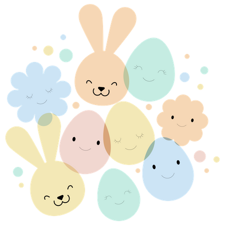 Easter card, banner and background design with eggs, bunnies and flowers Illustration