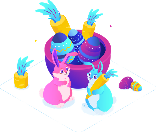 Easter egg with easter bunny Illustration