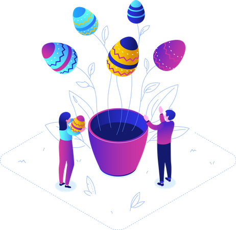 Easter tree with easter eggs Illustration